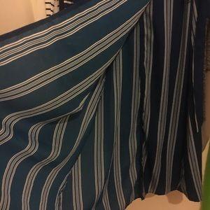 Dresses - Blue white stripe maxi dress beach cover up wrap S